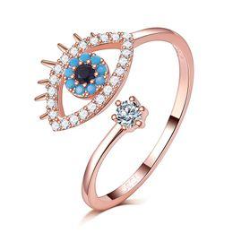 Bague pavée platine en Ligne-Gros nouveau diamant européen rétro 925 Argent Signature Pave mauvais yeux bague Cubic Zircon Anniversaire Bijoux pour filles anneaux
