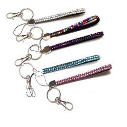 hals lanyard clips Rabatt 16 cm kurz New Bling Regenbogen Strass Lanyard Kristall Umhängeband Diamant Lange Lanyard mit Schlüsselanhänger und Clip Badge ID Halter