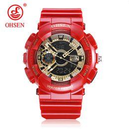 резиновые цифровые спортивные мужские часы Скидка 2018 Top Sale OHSEN NEW Fashion Digital Sport Watch Mens Quartz Wristwatch Rubber Band Red 50m Waterproof LED Watch Relogios