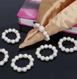 Il tovagliolo di nozze delle perle del tovagliolo delle perle bianche incastona per le decorazioni delle decorazioni della tavola del partito di ricevimento nuziale DHL libera il trasporto H079 cheap pearl white wedding reception da ricezione di nozze bianca della perla fornitori