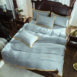 le ragazze piene di biancheria da letto viola insiemi Sconti Set biancheria da letto in cotone egiziano Luxury Queen King size Ricamo di alta qualità Completo Copripiumino Copripiumino Coprire
