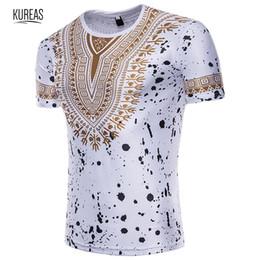 Племенные шорты печати онлайн-Kureas Мужская футболка с африканским принтом Dashiki Style с коротким рукавом Повседневные рубашки Летние топы с графическим рисунком и блузкой