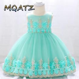 Organza pétala vestido de noiva on-line-MQATZ Mesh tutu pétala longa Traje de casamento meninas de flor de organza vestido menina vestido Traje Chest flores Arco Casual Dança