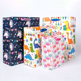 Bolsas de regalo reciclables online-Flamingo Unicornio Dinosaurio Bolsas de Papel Bolsa de Asas Reciclable Tienda de Empaquetado Bolsa de Compras Bolsas de Regalo Wrap9X14-1418