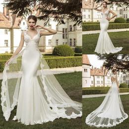 2019 vestido de noiva pequeno da sereia do querido 2019 Nova Moda Lace Sereia Vestidos De Noiva Querida Destacável Trem Vestidos De Casamento Da Luva Do Tampão Barato Praia Vestido De Noiva