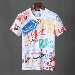 2019 forro estampado 2019 nuevo producto recomendado marca de diseñador diseñador de ropa camiseta graffiti DG impresión multilínea letras delanteras y traseras camisa suelta forro estampado baratos