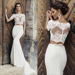 Argentina Dos piezas de sirena vestidos de novia Robe de Mariage Illusion Sexy 2019 Nuevos vestidos de novia de encaje Vestido de Noiva por encargo Suministro