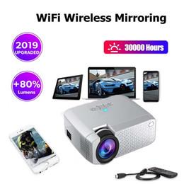 Proiettori telefonici online-1pcs !!! proiettore cinematografico WiFi Mirroring mini proiettore di Protable Phone Support HDMI jack da 3,5 mm USB Lampada LED Proiettore Home migliore regalo da DHL