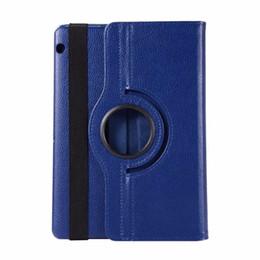 подставка для ручек Скидка Чехол для Huawei MediaPad T5 10 AGS2-W09 / L09 / L03 / W19 10,1-дюймовый вращающийся на 360 градусов искусственная кожа подставка Smart Tablet Cover Funda + ручка