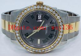 Argentina Calidad AAA Datejust II 116333 18 K Oro amarillo / SS 41 mm Mens automático maquinaria Reloj Roman Gray Dial Diamond Relojes de pulsera de los hombres supplier mens 18k yellow gold Suministro
