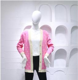 Ponticelli del progettista v online-Designer fashion Donna Maglioni Lettera Jacquard Knits primavera Inizio autunno Slash Neck Cardigan manica lunga Crop Jumpers Top Streetwear