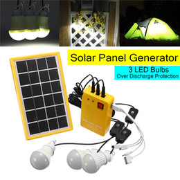 Bombilla de descarga online-Kit de generador de panel de energía solar para sistema doméstico con cargador USB de 5 V con 3 bombillas LED Iluminación interior / exterior sobre protección contra descargas