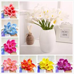 2020 lirios de bodas cala artificial de la flor del lirio verdadero toque colorido de la PU Mini Bouquet de lirios para la decoración del partido de la boda en casa lirios de bodas baratos