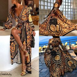 longueur de la tunique féminine Promotion Mode Casual Femmes Boho Wrap Robe de mariée Formelle Demoiselle d'honneur Longue Maxi Robe Loose Beach Holiday Summer Robe Plage Robe d'été