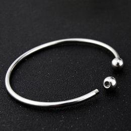 2019 pulsera removible 10 unids / lote acero inoxidable tono de plata ronda brazaletes expansibles pulseras sola barra con tapa extraíble extremo de bola
