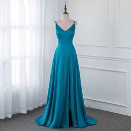 Smaragdseide online-2019 Emerald Silk Satin Lange Abendkleider Backless Formale Frauen Abendkleid Links Split Beach Party Kleider Prom Graduation Dress