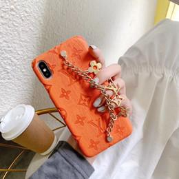 ручной росписью случай телефона Скидка Люксовые бренды Конструктор телефонов Чехлы для Iphone 11 Pro Max 6 7 8 плюс хз Max XR моды Браслет Кожа PU брелок свободной DHL