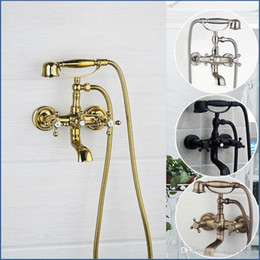 Conjunto de ducha de lluvia de pared online-Antiguo Latón Montado en la pared Mezclador Grifo 2 Funciones Asas dobles Cuarto de baño Ducha de bañera Juego de grifos de lluvia Ducha de mano