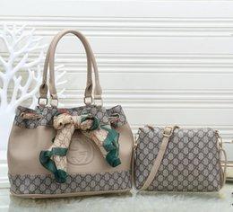 Conjunto de bolsa de peça on-line-Alta qualidade Mulheres bolsa marrom Totes Balde saco senhoras bolsa de Ombro Messenger bags senhora bolsa de embreagem retro conjunto de duas peças