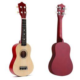 Hawaiianische gitarre online-21 Zoll Sopran Ukulele 4 Saiten Hawaiian Guitar Uke + String + Pick für Anfänger Kind Geschenk