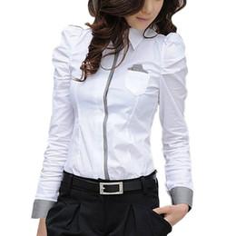 weiße knopfleiste bluse Rabatt Frauen Büro Weiß Bluse Dame Formale Button Down Shirt Langarmhemd Tops Bluse Mode