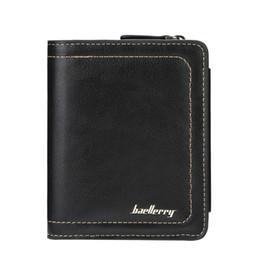 три раза кошельки мужчины Скидка Mens Short Wallet Бизнес Multi-Card Положение Tri-fold Snap Кошелек для монет Молния Вертикальный мужской кошелек