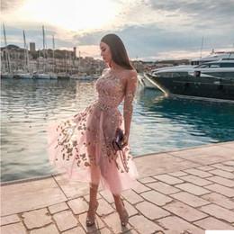 2019 mini vestido de praia rosa Blingbling rosa pura 3/4 manga longa meninas vestidos de festa de praia até vestido barato prom vestido na altura do joelho vestido de uma peça 2540 mini vestido de praia rosa barato