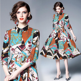 8e979a378f7 2019 New Runway Summer Chain Flower Printed Shirt Dress Women Bow Belt Turn  Down Collar Vintage Slim Fit and Flare Midi Dresses