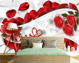 décorations murales de fleurs papier peint 3d Promotion Papel de Parede papier peint 3d romantique mur de fond de chambre simple fleur décorations pour enfants papier peint