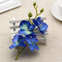 2019 rebstöcke großhandel 10pcs / lot Silk künstliche Orchidee Blumenstrauß für Heim Hochzeit Dekoration Supplies Orchis Pflanzen DIY Blau Weiß