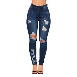 sexy paintings Coupons - JAYCOSIN 2019 Fashion Women Jeans Denim Hole Female Mid Waist Stretch Slim Sexy Pencil Pants 18JAN21