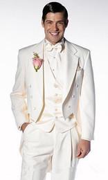 Argentina (Chaqueta + Pantalones + Chaleco + Corbata) Personalizar Trapo de Solapa Hermoso Novio Blanco Esmoquin de Novios Padrino El mejor hombre para hombre Trajes de Boda Novio 0001 Suministro