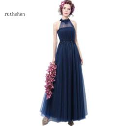 vente en gros robes de bal bleu marine sexy pas cher long cou cou dentelle appliques perles élégantes robes de soirée formelles 2018 ? partir de fabricateur