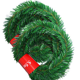 wholesale decorative indoor trees Coupons - 2pcs 5.5m Pine Christmas Garland Decorative Green Christmas Garland Artificial Xmas Tree Rattan Banner Decoration
