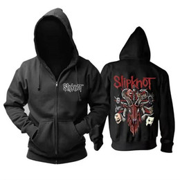 2020 bande hoodies 4xl Slipknot Bande Métal Imprimé Hommes Hoodies Sweats Casual Capuche Manteau Cardigan Veste Zip Pocket Automne Mode Sweat À Capuche S-4XL bande hoodies 4xl pas cher