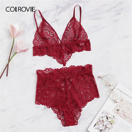 5dd7805ce2 wholesale Red Lace-up Harness Detail Lace Lingerie Set Women Intimates 2019  Fashion Wireless Underwear Ladies Sexy Bra Set