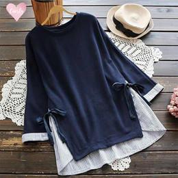 blusa de lazo de talla grande Rebajas Blusa ray remiendo de las mujeres suéter Otoño O Cuello de la manga larga suelta Blusas camisa más el tamaño ocasional de Femme cuello en V Arco