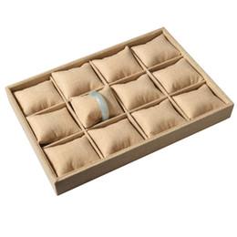 Almohadas de pulsera online-Argositment 12 piezas de arpillera de imitación de la joyería brazalete reloj almohada placa de visualización titular de la bandeja