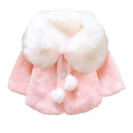 collar cape Promo Codes - lovely Winter Baby Girls Fur Fleece Imitation Pearls Princess Outerwear warm Coat Lapel Collar Xmas Kids Infant Cloak Cape