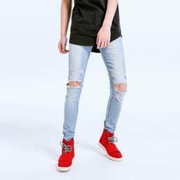 2019 legging destruido Agujeros elásticos destrozados y desgarrados de la rodilla de los hombres Jeans ajustados de la pierna cónicos Pantalones de mezclilla cómodos y duraderos de moda rebajas legging destruido