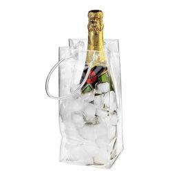 Verão portátil de plástico Ice Bag única garrafa auto selado sacos transparentes arrefecer bebidas Champagn Bolsa de armazenamento recipiente de alimento da cozinha de Fornecedores de sacos de vinho branco atacado