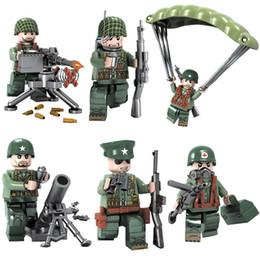 ladrillos juguetes ejército Rebajas 6pcs WW2 War of the Pacific Theatre Of Operations Battle USA Army Solider Military Mini Toy Figure Building Block Brick para Kid Boy