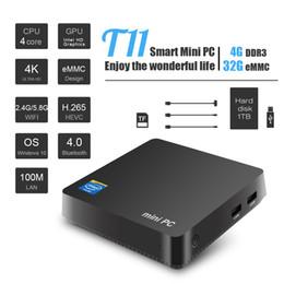 Haute qualité mini pc T11 OS Windows 10 TV Box Intel Z8350 4-core 4 Go / 32 Go 2.4 / 5.8GGwifiBluetooth smart 3D Media Player ? partir de fabricateur