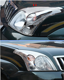 Lampe prado en Ligne-2pcs Chrome avant Head Light Lamp Couverture pour Toyota Version Prado Fj120 2003-2009