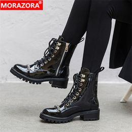 2019 chaînes de démarrage de moto MORAZORA 2020 bottines de qualité supérieure pour les femmes chaîne zip lacets automne hiver punk plate-forme chaussures dames moto bottes chaînes de démarrage de moto pas cher