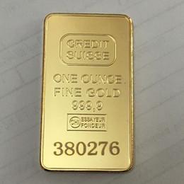 barren gold Rabatt 10 Stk. Nicht magnetischer CREDIT SUISSE Barren 1 Unze vergoldeter Goldbarren Schweizer Andenkenmünzen-Geschenk 50 x 28 mm mit unterschiedlicher Laser-Seriennummer