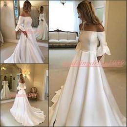 vestido de noiva com vestido de bola Desconto Elegante de cetim branco do casamento Vestidos de noiva com bolsos Bateau Neck Train meia manga Robe de mariée Bola Vestidos Igreja vestido nupcial