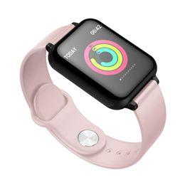 Medidores de oxígeno en la sangre online-B57 pantalla a color pulsera inteligente ritmo cardíaco presión arterial sangre oxígeno ejercicio medidor paso llamada recordatorio control remoto música natación agua