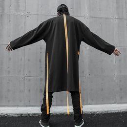 2020 uomini di cappotto di trincea arancione Uomini autunno inverno nastri arancione coulisse punk hip hop trench giacca lunga uomo Harajuku oversize mantello trasporto di goccia sconti uomini di cappotto di trincea arancione