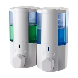 2019 chumbo líquido atacado manual Sabonete Líquido Dispenser Duplo garrafa de 350ml * 2 Soap Commercial Dispenser Wall montado fro Cozinha Casa de banho